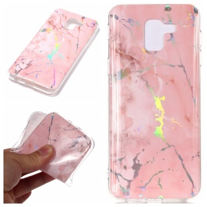 For Samsung Galaxy A6 (2018) Marble Pattern Plated IMD TPU Back Phone Case - Pink