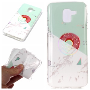 For Samsung Galaxy A6 (2018) Marble Pattern Plated IMD TPU Cellphone Case - Cyan / White