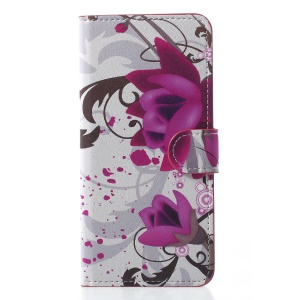 Pattern Printing Leather Wallet Cover for Samsung Galaxy J6 (2018) - Purple Flowers