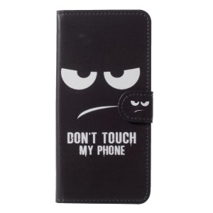 Pattern Printing Wallet Leather Mobile Phone Case for Samsung Galaxy J6 (2018) - Do not Touch My Phone