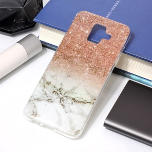 Pattern Printing IMD TPU Back Cover for Samsung Galaxy A6 (2018) - Grey Marble / Glittery Powder