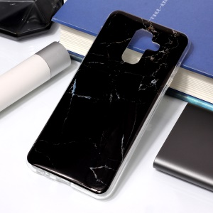 For Samsung Galaxy A6 Plus (2018) / A9 Star Lite IMD Marble Patterned TPU Soft Case - Black
