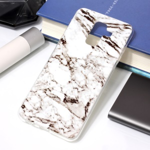 For Samsung Galaxy A6 Plus (2018) / A9 Star Lite IMD Marble Patterned TPU Soft Cover - White
