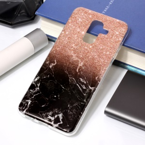 For Samsung Galaxy A6 Plus (2018) / A9 Star Lite IMD Marble Patterned TPU Soft Casing - Black/Pink