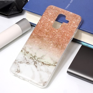 For Samsung Galaxy A6 Plus (2018) / A9 Star Lite IMD Marble Patterned TPU Soft Casing Cover - Pink/White