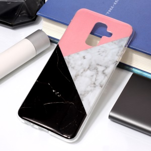 For Samsung Galaxy A6 Plus (2018) / A9 Star Lite IMD Marble Patterned TPU Soft Mobile Cover - Stitching Color