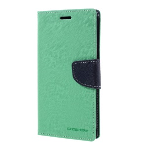 MERCURY GOOSPERY Contrast Color Leather Case for Samsung S7 edge G935 - Cyan