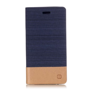 For Samsung Galaxy J6 (2018) Two-tone Canvas Leather Mobile Phone Case with Card Slot - Dark Blue