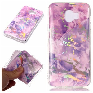 Marble Pattern Plated IMD TPU Mobile Casing Cover for Samsung Galaxy J4 (2018) - Purple