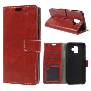 Crazy Horse Texture PU Leather Magnetic Stand Wallet Phone Case for Samsung Galaxy A6 (2018) - Red