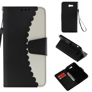 For Samsung Galaxy J7 V / J7 Perx Bi-color Splicing PU Leather Wallet Stand Case - Black / White