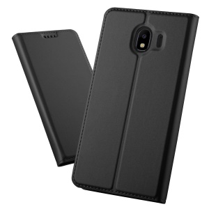 Magnetic Adsorption Leather Flip Bracket Case with Card Holder for Samsung Galaxy J4 (2018) - Black