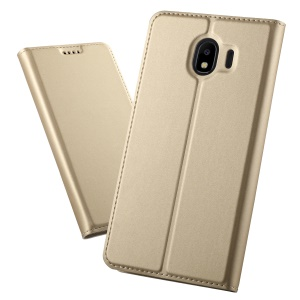 Magnetic Adsorption Leather Flip Bracket Phone Shell with Card Holder for Samsung Galaxy J4 (2018) - Gold
