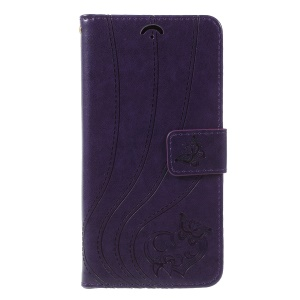 Imprint Butterfly Heart Leather Wallet Stand Mobile Phone Case for Samsung Galaxy J7 (2018) J737 - Dark Purple