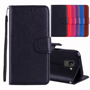 Litchi Texture Wallet Leather Stand Phone Case for Samsung Galaxy J6 (2018) - Black
