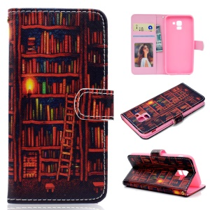 Pattern Printing Leather Wallet Case for Samsung Galaxy J6 (2018) - Books Pattern