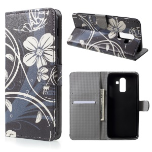 Pattern Printing Wallet Stand Leather Case for Samsung Galaxy J8 (2018) - White Flower and Butterfly