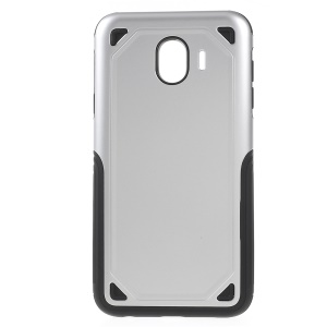 Rugged Armor PC + TPU Hybrid Back Phone Casing for Samsung Galaxy J4 (2018) - Silver