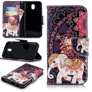 Pattern Printing Wallet Leather Shell for Samsung Galaxy J5 (2017) EU Version / J5 Pro (2017) - Elephant and Peacock
