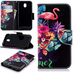 Pattern Printing Leather Stand Wallet Mobile Shell for Samsung Galaxy J5 (2017) EU Version / J5 Pro (2017) - Flamingo and Pineapple