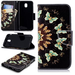 Pattern Printing Card Holder Leather Phone Case for Samsung Galaxy J5 (2017) EU Version / J5 Pro (2017) - Colorized Butterflies