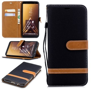 Jeans Cloth Texture Leather Wallet Stand Case for Samsung Galaxy A6+ (2018) / A9 Star Lite - Black