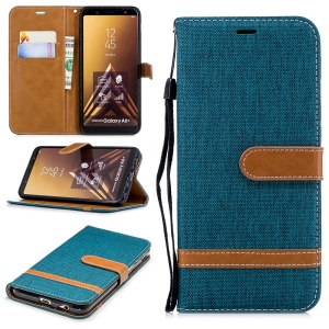 Jeans Cloth Texture Leather Wallet Stand Folio Cellphone Case Accessory for Samsung Galaxy A6+ (2018) / A9 Star Lite - Green