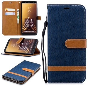 Jeans Cloth Texture Leather Wallet Phone Protective Case with Stand for Samsung Galaxy A6+ (2018) / A9 Star Lite - Dark Blue