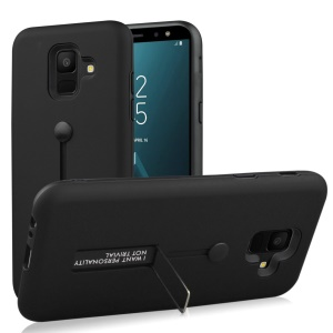 TPU + PC Hybrid Finger Grip Kickstand Case for Samsung Galaxy A6 (2018) - Black
