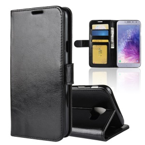Crazy Horse Texture Wallet Stand Leather Phone Case for Samsung Galaxy J4 (2018) - Black