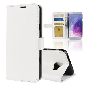 Crazy Horse Texture Wallet Stand Leather Protector Cover for Samsung Galaxy J4 (2018) - White