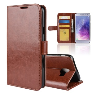 Crazy Horse Texture Wallet Stand Leather Mobile Case Accessory for Samsung Galaxy J4 (2018) - Brown