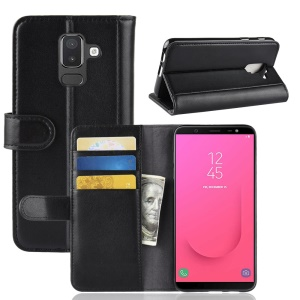 Genuine Split Leather Wallet Stand Phone Case for Samsung Galaxy J8 (2018) - Black