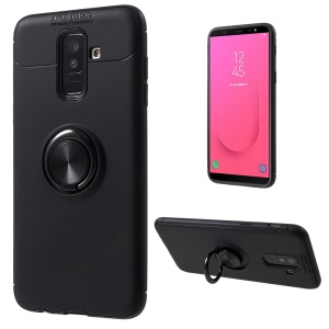 Finger Ring Kickstand TPU Mobile Case (Built-in Magnetic Metal Sheet) for Samsung Galaxy J8 (2018) - All Black