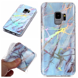 Marble Pattern Plated IMD TPU Protective Shell Case for Samsung Galaxy S9 G960 - Blue