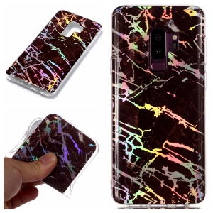 IMD Marble Pattern Plated TPU Back Cover for Samsung Galaxy S9 Plus SM-G965 - Black
