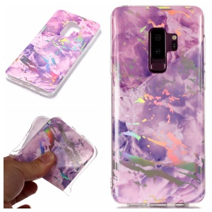 IMD Marble Pattern Plated TPU Protective Case for Samsung Galaxy S9+ SM-G965 - Purple