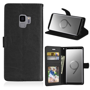 Solid Color PU Leather Wallet Stand Mobile Phone Case for Samsung Galaxy S9 SM-G960 - Black