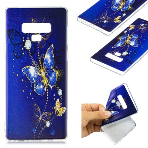 Pattern Printing Soft TPU Protective Shell for Samsung Galaxy Note 9 - Blue Butterflies