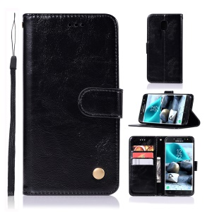 Retro Style PU Leather Wallet Stand Flip Cover for Samsung Galaxy J7 (2018) J737 - Black