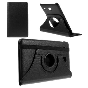 Rotary Stand Leather Flip Case for Samsung Galaxy Tab E 8.0 T377 - Black