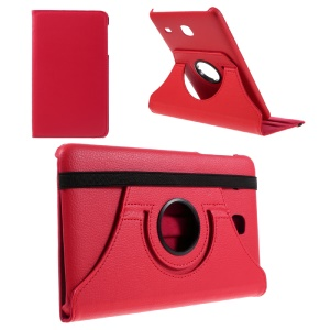 Rotary Stand Leather Flip Shell for Samsung Galaxy Tab E 8.0 T377 - Red
