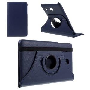 Rotary Stand Leather Flip Case for Samsung Galaxy Tab E 8.0 T377 - Dark Blue