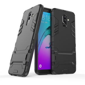 Cool Guard PC TPU Hybrid Phone Casing with Kickstand for Samsung Galaxy J8 (2018) - Black