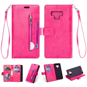 Zippered Leather Magnetic Stand Wallet Case with Strap for Samsung Galaxy Note 9 - Rose