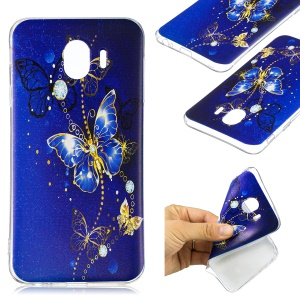 Pattern Printing TPU Protective Cell Phone Shell for Samsung Galaxy J4 (2018) - Blue Butterfly