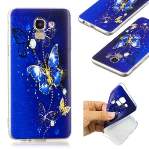 Pattern Printing TPU Case Accessory for Samsung Galaxy J6 (2018) - Blue Butterfly