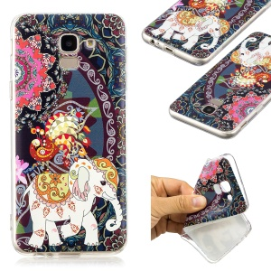 Pattern Printing TPU Protective Case for Samsung Galaxy J6 (2018) - Flower and Elephant