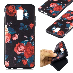 Embossed Pattern Soft TPU Cover Casing for Samsung Galaxy A6 (2018) - Roses