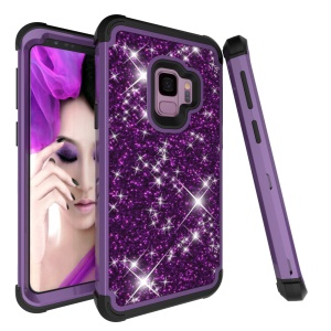Glitter Powder Leather Coated Hybrid PC Silicone Cellphone Case Cover for Samsung Galaxy S9 G960 - Dark Purple